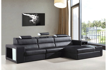 Polaris Contemporary Bonded Leather Sectional Sofa Black