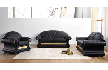 Cleopatra Leather Sofa Set Black
