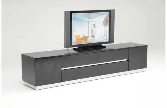 Skyline Modern Crocodile Lacquer TV Stand Black