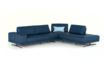 Grady Modern Blue Leather Sectional Sofa