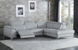 Michelle Light Gray Reclining Leather Sectional Sofa