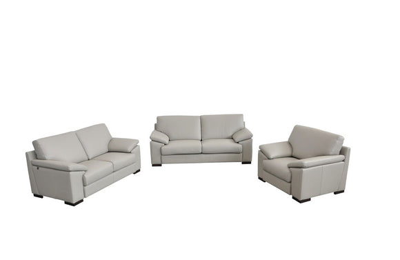 Morris Italian Modern Gray Leather Sofa Set