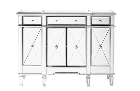 Modern 3 Drawer 4 Door Buffet Silver