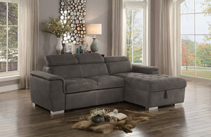 Arno Brown Sectional with Bed and Storage