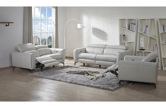 Scuzzo Reclining Sofa in Light Gray Leather