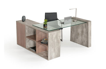 Boston Modern Glass & Concrete Desk