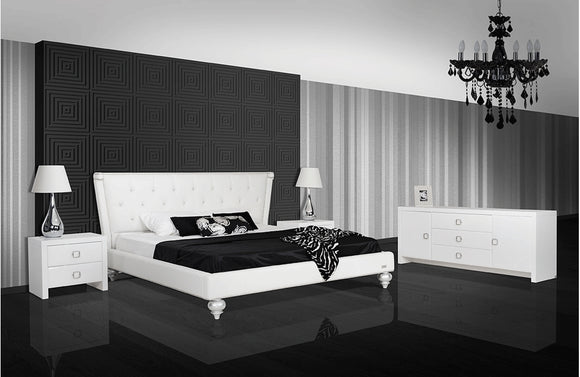 Monica White Leatherette Bed