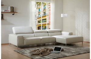 Carina Light Gray Leather Sectional Sofa