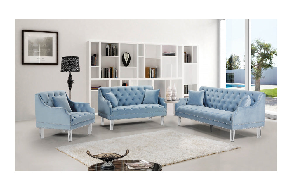 Jean Sky Blue Sofa Set Buy 1122 In A Modern Furniture