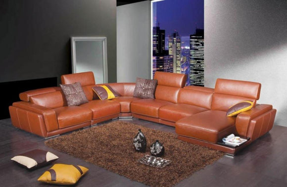 Kenzie Modern Orange Leather Sectional Sofa
