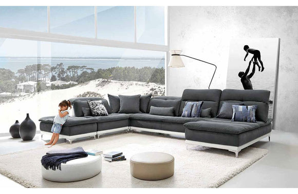 Horizon Modern Gray Fabric & Leather Sectional Sofa