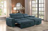 Arno Blue Sectional with Bed and Storage