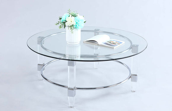 Carly Round Glass Сcocktail Table
