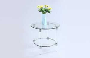 Carly Round Glass Lamp Table