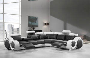 Nina Modern Black and White Bonded Leather Sectional Sofa