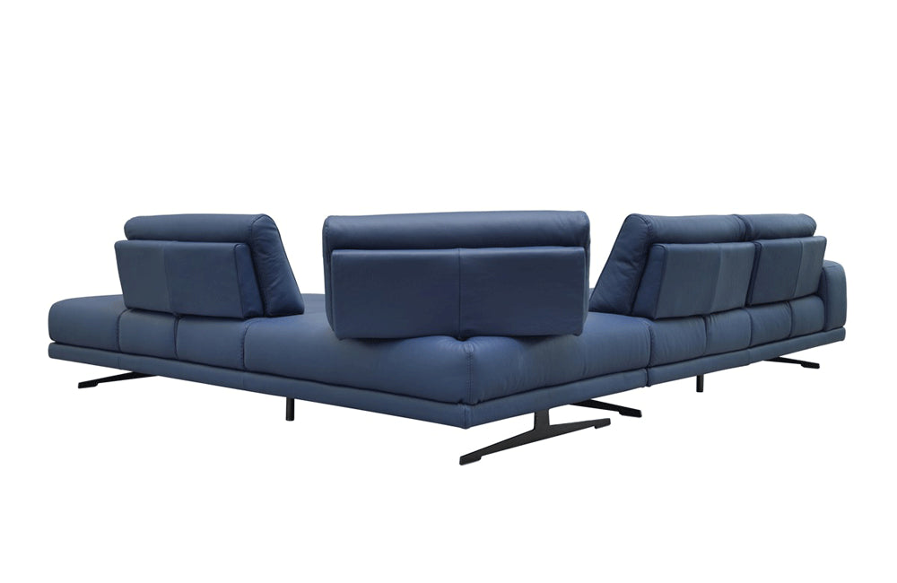 Grady Modern Blue Leather Sectional Sofa Buy 7391 In A