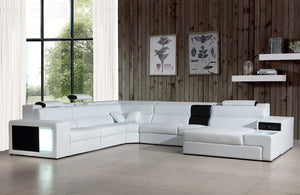 Adelyn Contemporary Bonded Leather Sectional Sofa