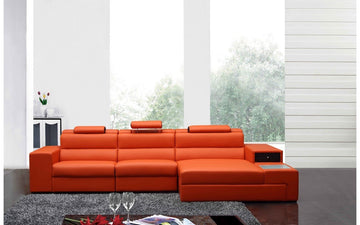 Polaris Contemporary Bonded Leather Sectional Sofa Orange