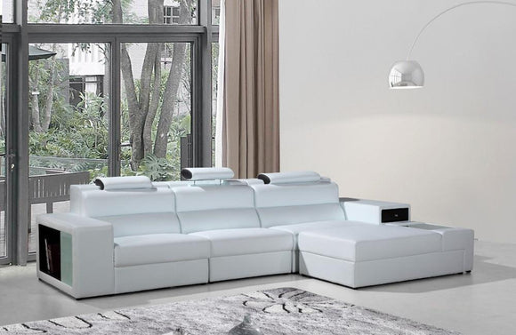 Polaris Contemporary Bonded Leather Sectional Sofa White