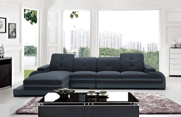 Abby  Modern Fabric & Bonded Leather Sectional Sofa