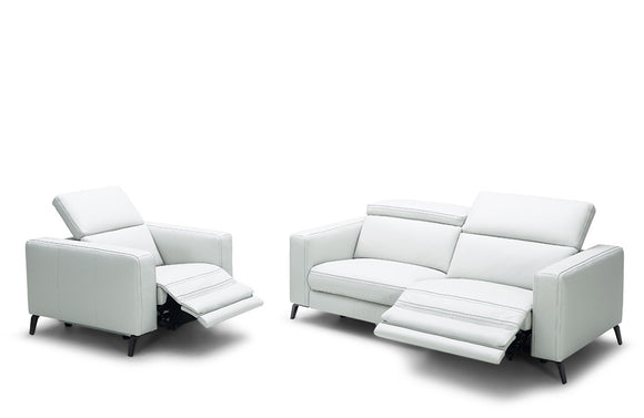 Elliana Modern White Leather Sofa Set