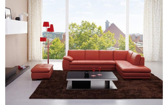 625 Orange Leather Sectional Sofa