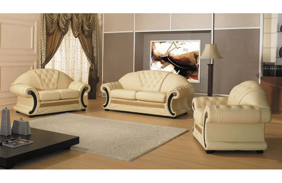 Cleopatra Leather Sofa Set Beige
