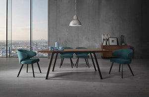 Sadie Modern Walnut & Teal Dining Set