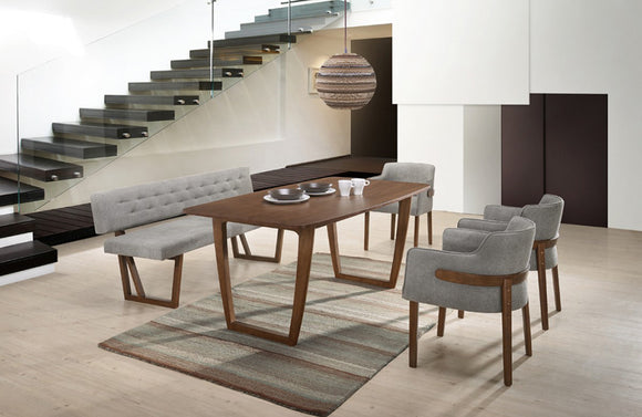 Jordan Modern Walnut & Gray 6 PC Dining Set