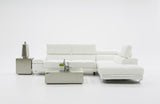 Dante Divani Casa Myst Mini Modern White Eco-Leather Sectional Sofa