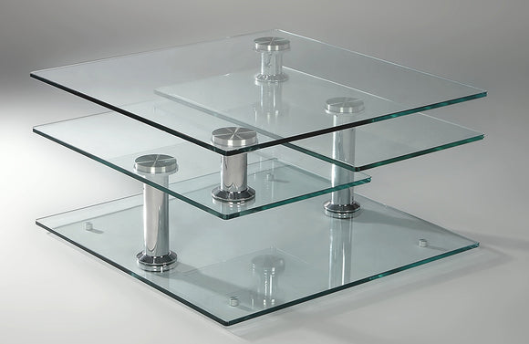 Alicia Square Motion Glass Cocktail Table