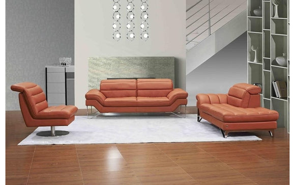 Astro Orange Leather Sofa Set