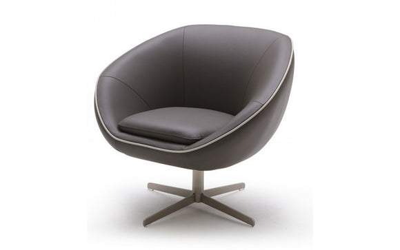 Divani Casa Willow Modern Leather Swivel Lounge Chair