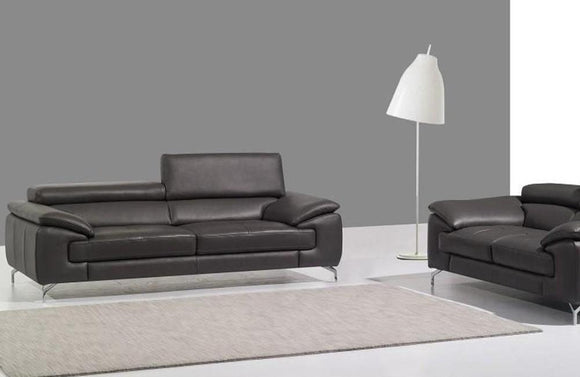A973 Premium Dark Gray Leather Sofa Set