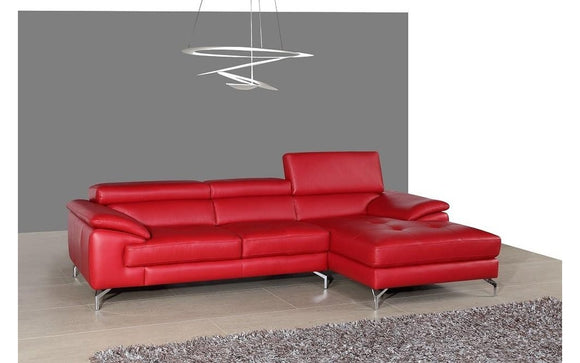 RIALTO Red Premium Leather Sectional Sofa
