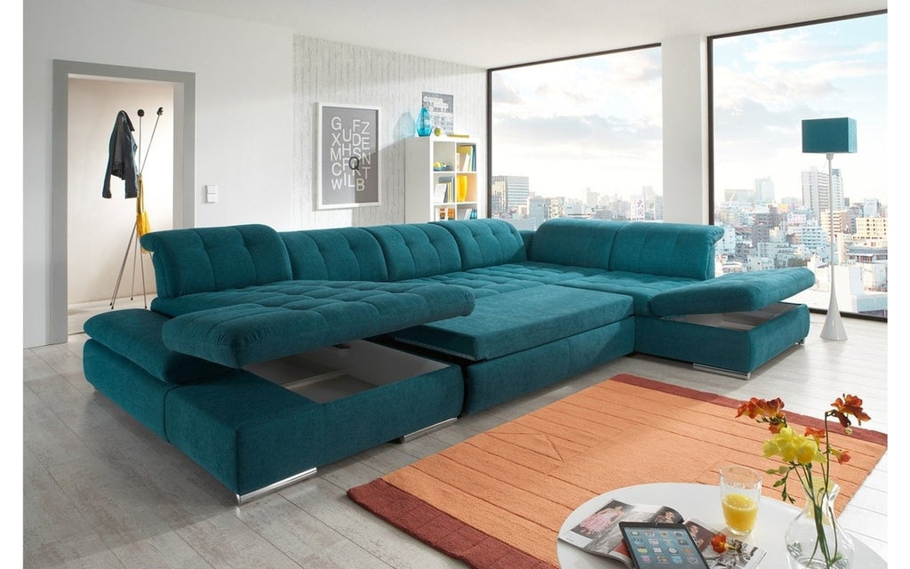 Alpine Fabric Sectional Sofa In Teal Left Facing Chaise