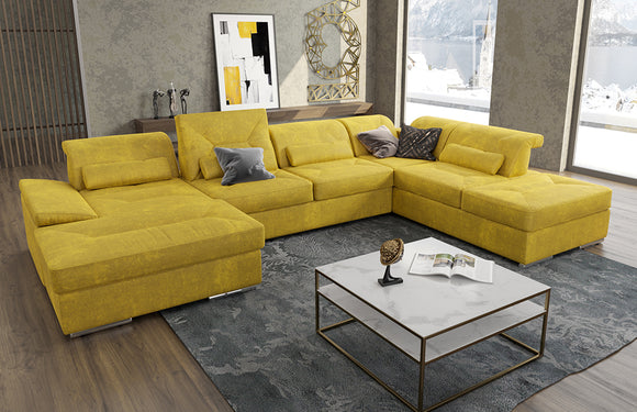 Alpine-X Fabric Sectional U-shape with bed and storage by Nordholtz