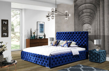 Andrea Blue Upholstered Bed by Nordholtz