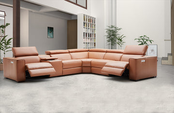 Bellagio Orange leather sectional with recliners