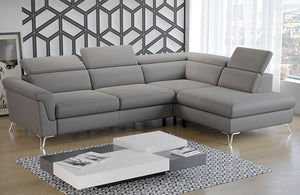 Berlin Grey Leather Sectional with bed and storage