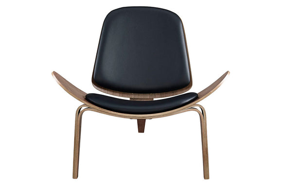 Zion Upholsterd Vinil Lounge Chair in Walnut Black