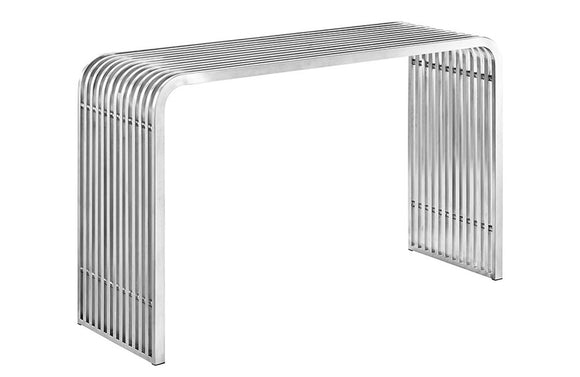 Shane Steel Console Table in Silver