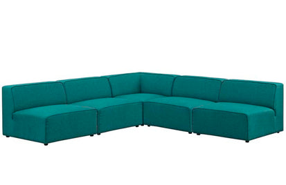 Outstanding Diana Mingle 5 Piece Upholstered Fabric Armless Sectional Beatyapartments Chair Design Images Beatyapartmentscom
