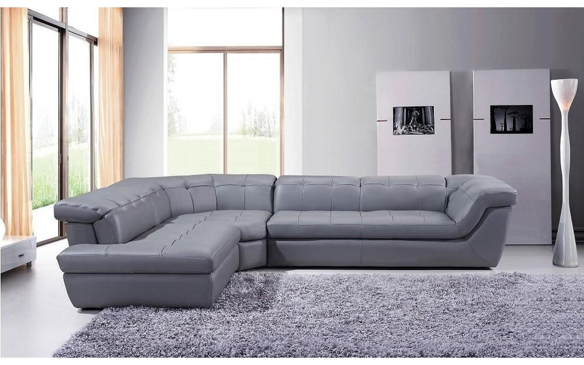 Strange 397 Gray Italian Leather Sectional Sofa Left Facing Buy Inzonedesignstudio Interior Chair Design Inzonedesignstudiocom