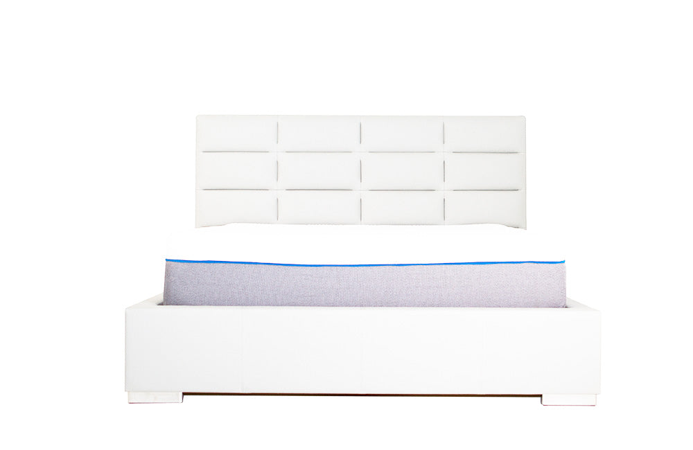 Helga White Upholstered Bed With Storage By Nordholtz
