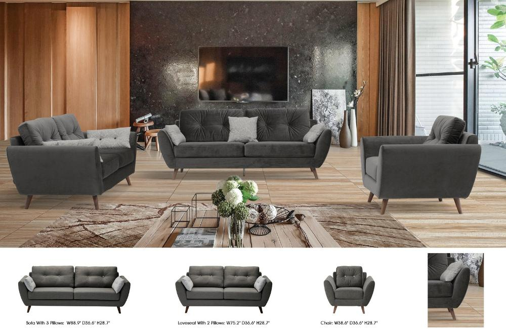 Kate Modern Fabric Sofa Set