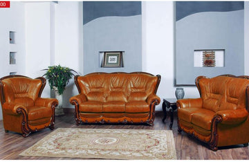 Gabriela Traditional Leather Sofa Set