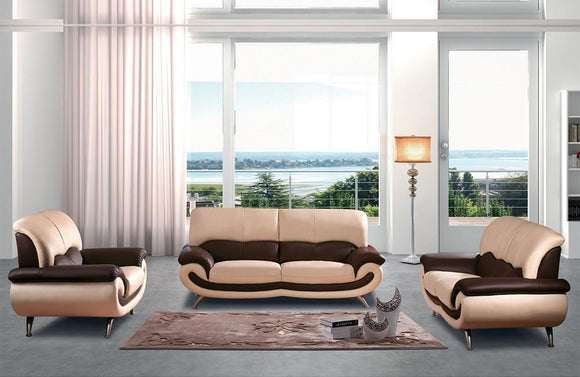 Mila Modern Leather Sofa Set