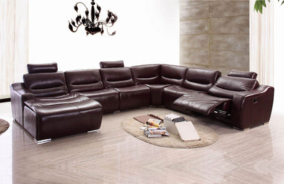 2144 Brown Leather Sectional Sofa w/Recliner (Left Chase)-Buy ($3625 ...