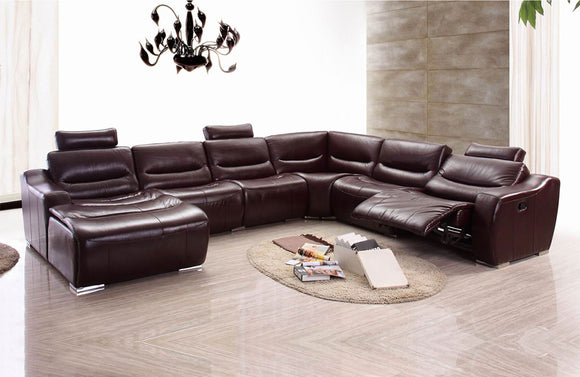2144 Brown Leather Sectional Sofa w/Recliner